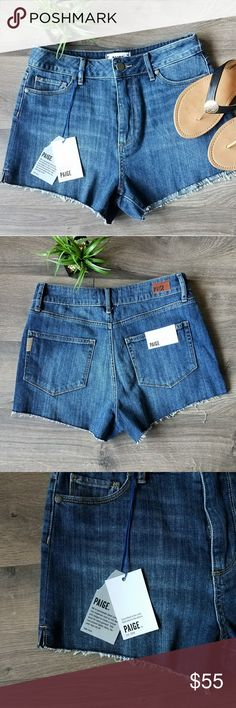 Paige jean high waisted shorts New with tags.  Paige jean high waisted shorts.  Super cute and chic featuring raw hems. PAIGE Shorts Jean Shorts