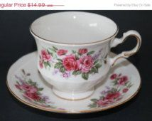 """15% Shop Sale Queen Anne Bone China Teacup and Saucer Set """"Pattern Number 8544"""""""
