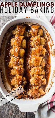 apple dumplings are made with simple, wholesome ingredients. Soft, spiced apples wrapped in tender pastry & baked in a luscious brown sugar sauce. Best Dessert Recipes, Apple Recipes, Fun Desserts, Snack Recipes, Cooking Recipes, Apple Snacks, Apple Desserts, Fall Recipes, Cooking Tips