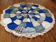 Vintage Handmade Blue White Quilted Puffy Tree Skirt