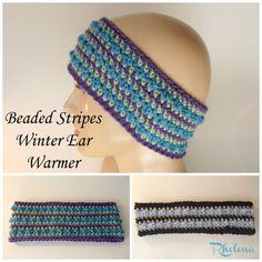 Beaded Stripes Winter Ear Warmer ~ FREE Crochet Pattern