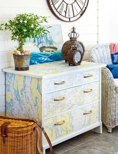 Decorating with sea charts....http://www.completely-coastal.com/2015/07/nautical-map-decor-ideas-by-anna-ornberg.html