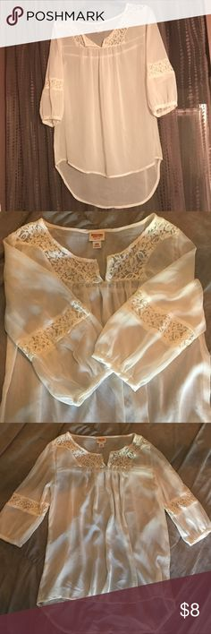Boho Chic Chiffon/Lace Top NWOT.  Beautiful Sheer High Low Blouse.  Pair with a cami and belt. Mossimo Supply Co. Tops Blouses