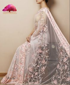 Pink Net Saree by Citrine at Indianroots.com