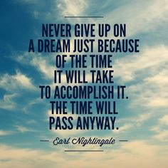 Never give up on a dream just because of the time it will take to accomplish it. The time will pass anyway. #quote #success #nevergiveup
