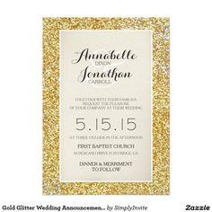 """Gold Glitter Wedding Announcement Invitation 5"""" X 7"""" Invitation Card"""