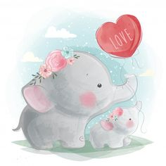 Cute Elephant Flying With Balloons Cartoon Rat, Cartoon Elephant, Baby Cartoon, Cute Cartoon, Baby Animal Drawings, Cute Drawings, Baby Animals, Cute Animals, Baby Elephants