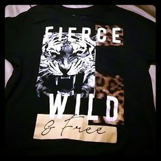 Shirt Cute shirt with tiger roaring says wild and free NWOT just bought didn't fit... Tops Tees - Short Sleeve