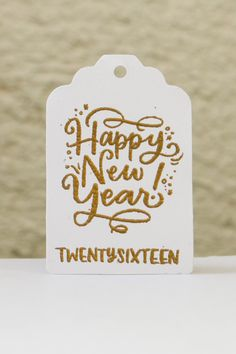 """Holiday Gift Tags - Happy New year - 2016 party by MapleApplePapergoods Stamp by Studio Calico, """"Twenty Sixteen"""""""