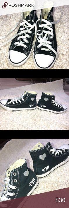 91359cf097d3 Converse Black High Tops Customized Girls Size 3