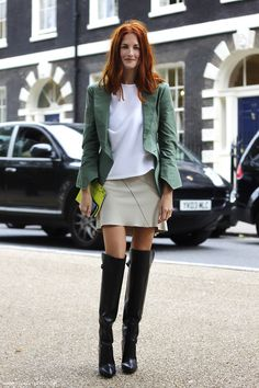 Taylor Tomasi Hill in Alexander Wang over-the-knee boots, London, September 2012 #StreetStyle
