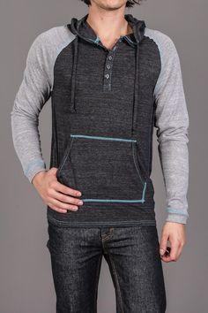 FUSAI Raglan Sleeve Contrast Stitch Hooded Henley