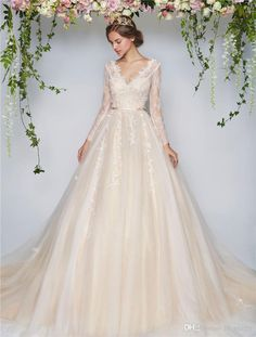 2017 Blush Beach Country Wedding Dresses A Line V Neck Long Sleeves Vintage Lace Pearls Cheap Plus Size Arabic Bridal Gowns Vestido De Novia Wedding Dresses Classic Wedding Dresses Gowns From In_marry, $222.02| Dhgate.Com