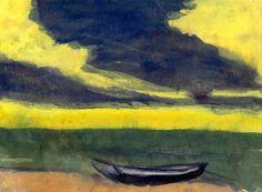 Emil Nolde (1867-1956) Boot am Ufer unter gelbem Himmel und dunkel-blauen Abendwolken.