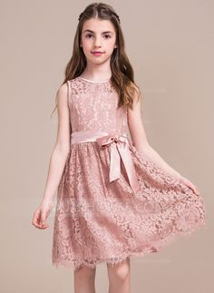 A-Line/Princess Scoop Neck Knee-Length Lace Junior Bridesmaid Dress With Bow(s) (009081128) - JJsHouse