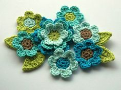 Crochet Applique Flower Set in Cool Blues by AnnieDesign on Etsy