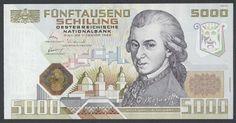 Austria currency 5000 Austrian Schilling Mozart banknote