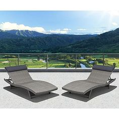 Atlantic Santorini 2 Piece Deluxe Grey Synthetic Wicker Patio Lounger Set With Grey Head Cushion