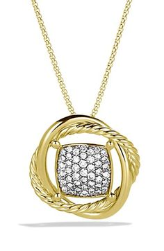 David Yurman 'Infinity' Infinity Pendant with Diamonds in Gold on Chain