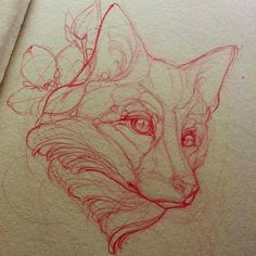 Sketching a red fox #tattoo #missjuliet #redfox #fox