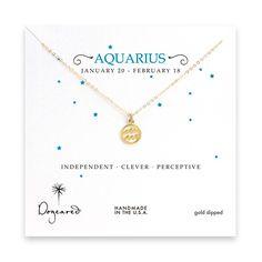 aquarius zodiac gold dipped necklace
