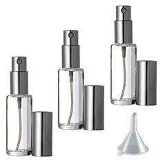 Riverrun Perfume Cologne Atomizer Empty Refillable Glass Bottle Fine Mist Sprayer 5ml 16 oz Set of 3  Silver * For more information, visit image link.