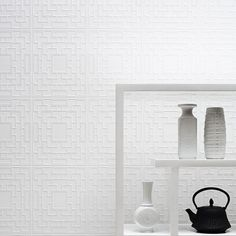 Screen Panel Paintable Wallpaper in White design by Kelly Hoppen for Graham & Brown | BURKE DECOR
