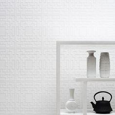 Screen Panel Paintable Wallpaper in White design by Kelly Hoppen for Graham & Brown   BURKE DECOR