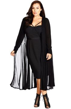 City Chic Sheer Longline Cardigan (Plus Size) available at #Nordstrom