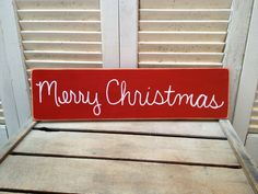 Distressed Bright Red and White Merry Christmas Photo Prop Sign Family Christmas Card Sign Prop by SassySouthernCharm on Etsy