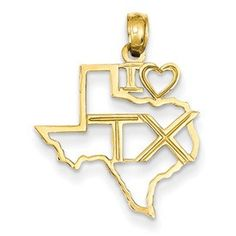 14k Solid Texas State Pendant