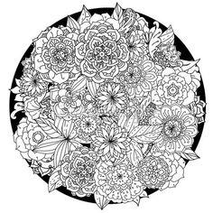 Ornamento floral de círculo. Mandala de arte dibujado a mano. Hecho por el rastro del bosquejo. Pluma de la tinta. Fondo blanco y negro. Patrones de zentangle. — Vector de stock