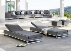 Manutti Zendo Sun Lounger - gorgeous fully upholstered sun lounger in Nautic Speckle fabric