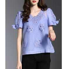 Original 2017 Brand Summer Blouse Plus Size Blue Girly Guipure Lace Floral H-line Short Sleeved Top With Camis Women Wholesale