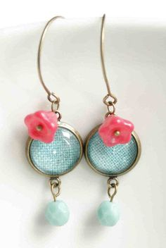 Dangle Earrings in Turquoise Blue and raspberry Red
