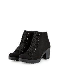 Black Lace Up Hi-Top Block Heel Boots  | New Look