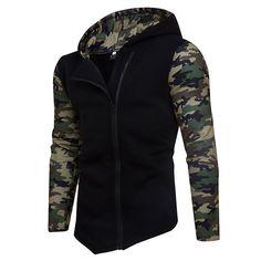 Mens Fashion Camouflage Hoodies Diagonal Zip Up Patchwork Hip Hop Sportwear Cheap Mens Fashion, Best Mens Fashion, Camo Outfits, Casual Outfits, Mens Clothing Guide, African Men Fashion, Hooded Sweatshirts, Black Hoodie, Zip Ups