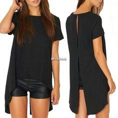 Donne Manica corta Blusa camicetta camicia maglietta T-shirt Blouse Tops Maglie