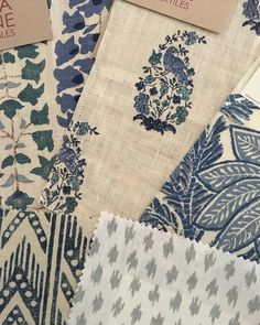Bluesday. Beautifully hand printed linens from Lisa Fine Textiles, Carolina Irving Textiles, Penny Morrison Fabrics and Décors Barbares.…