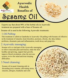 Ayurvedic health benefits of Sesame seed oil; Known as the King of Oils, Sesame oil is completely safe for the use of children and is known to strengthen the bones, joints and muscles by penetrating deeply into the muscles and the bone marrow. It is because of this property, every Indian family massage their new born babies and toddlers with Sesame oil before bath and leave them under sunlight for few minutes allowing the body to absorb vitamin D and nourish the skin cells naturally.