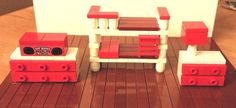 LEGO Custom Furniture - Red Bedroom Set with Bunk Beds, Dresser, Night Table…