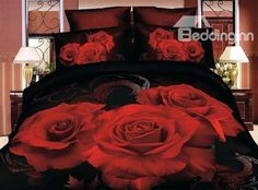 Beautiful Big Roses Print 3D Flower Bedding Sets 4 Piece Duvet Cover Sets