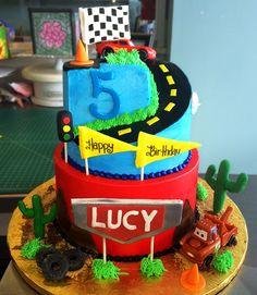 A Cars birthday cake! Cake # 0074.