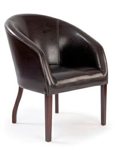 A compact chocolate brown reception chair upholstered from the finest quality faux leather. Elegant clean line styling for modern look. Office Furniture Suppliers, Reception Furniture, Mahogany Stain, Contract Furniture, Commercial Furniture, Upholstered Chairs, Office Interiors, Tub Chair, Seat Cushions