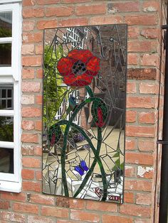 Poppy & Butterflies | Mosaic garden mirror (62 x 123cm / 2' … | Flickr