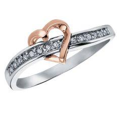 Bague d'amitié Coeur pour dame sertis de diamants totalisant 0.07 Carat Pureté:I Couleur:GH - En Or 10K 2-tons (Blanc et Rose)