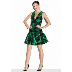 COUTURE FLORAL FIL COUPE DROPWAIST DRESS