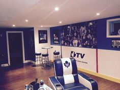 Basement Custom DIY Hockey Man Cave - Toronto Maple Leafs Style Kitchen Improvements - Enjoy Now and Attic Man Cave, Man Cave Room, Man Cave Basement, Man Cave Home Bar, Man Cave Garage, Garage Bar, Hockey Man Cave, Sports Man Cave, Ice Hockey