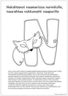 N-kirjain, tarina ja värityskuva