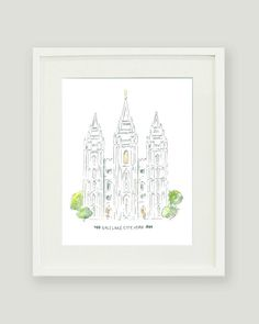Salt Lake Temple  LDS Temple Painting by alexazdesign on Etsy